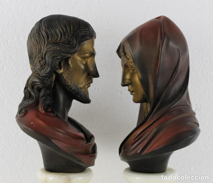 Arte: Bustos de la Virgen y Cristo en resina policromada con base de mármol. Siglo XX - Foto 8 - 254901890