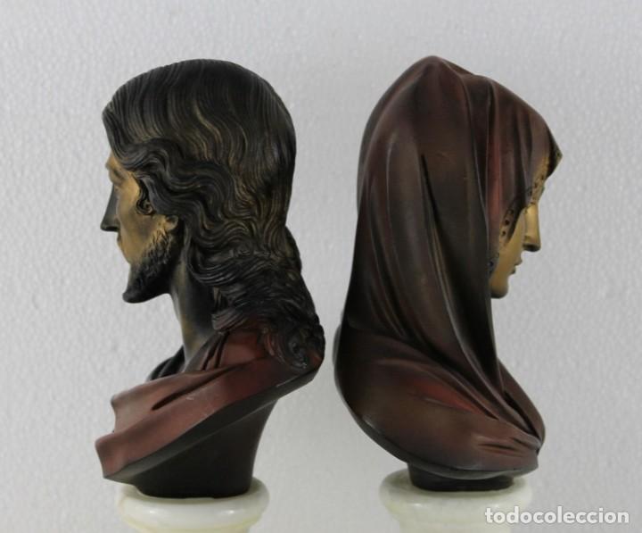 Arte: Bustos de la Virgen y Cristo en resina policromada con base de mármol. Siglo XX - Foto 9 - 254901890