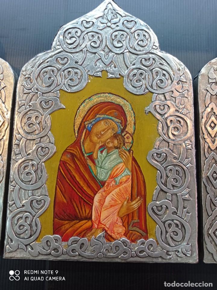 Arte: Tríptico icono Ruso - Foto 3 - 255004745