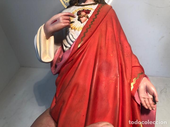 Arte: PRECIOSO SAGRADO CORAZON DE JESUS DE PASTA MADERA. ARTE CRISTIANO OLOT. SIGLOXIX. 42CM. - Foto 6 - 255335605