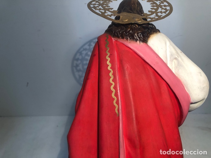 Arte: PRECIOSO SAGRADO CORAZON DE JESUS DE PASTA MADERA. ARTE CRISTIANO OLOT. SIGLOXIX. 42CM. - Foto 12 - 255335605