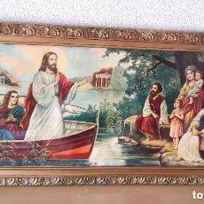 Arte: LÁMINA MARCO Y CRISTAL CRISTO PREDICANDO DESDE LA BARCA Nº 14019 ÁNGEL ALEMÁN MURCIA 88CM X 46CM. Lote 255394755