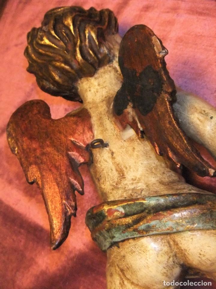 Arte: ANTIGUO TALLA DE ANGEL QUERUBIN ALADO DE MADERA POLICROMADA S.XVIII-XIX - Foto 7 - 255491020