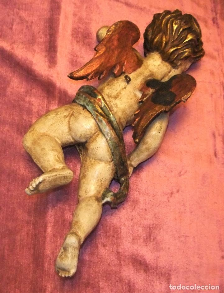 Arte: ANTIGUO TALLA DE ANGEL QUERUBIN ALADO DE MADERA POLICROMADA S.XVIII-XIX - Foto 8 - 255491020