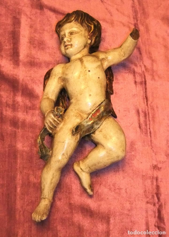 ANTIGUO TALLA DE ANGEL QUERUBIN ALADO DE MADERA POLICROMADA S.XVIII-XIX (Arte - Arte Religioso - Escultura)