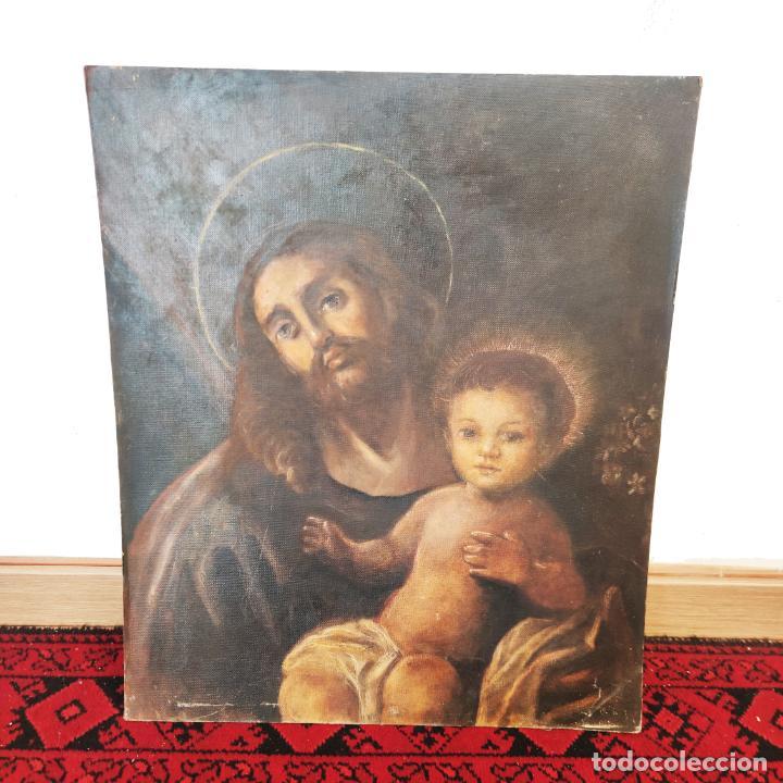 BELLO OLEO SOBRE LIENZO PEGADO A TABLEX. SAN JOSÉ CON EL NIÑO JESÚS. 55 X 46 CM. (Arte - Arte Religioso - Pintura Religiosa - Oleo)