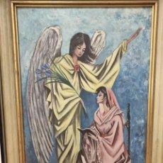Arte: CUADRO RELIGIOSO PINTADO ÁNGEL , FIRMADO POR EL AUTOR 1964 - MEDIDAS 41,8 X 31. Lote 255547240