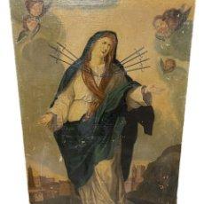 Arte: ANTIGUO ÓLEO SOBRE LIENZO. DOLOROSA CON ÁNGELES DE LA GUARDA. S. XVII. 117X82. Lote 255649495