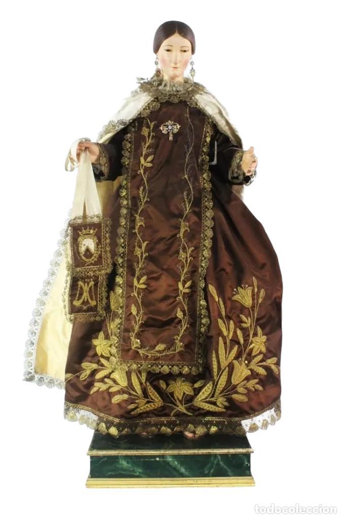 Arte: Gran Virgen del Carmen con niño. Cap pota en madera, ojos cristal, sedas, bordados. ca 1880. 97cm. - Foto 9 - 247953185