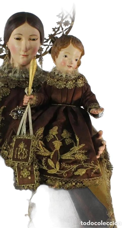 Arte: Gran Virgen del Carmen con niño. Cap pota en madera, ojos cristal, sedas, bordados. ca 1880. 97cm. - Foto 10 - 247953185