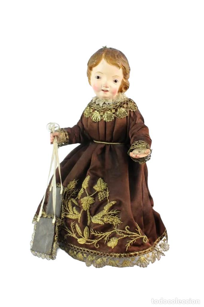 Arte: Gran Virgen del Carmen con niño. Cap pota en madera, ojos cristal, sedas, bordados. ca 1880. 97cm. - Foto 12 - 247953185