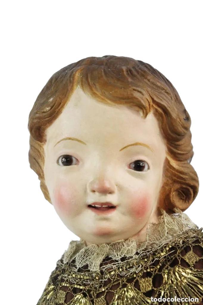 Arte: Gran Virgen del Carmen con niño. Cap pota en madera, ojos cristal, sedas, bordados. ca 1880. 97cm. - Foto 13 - 247953185