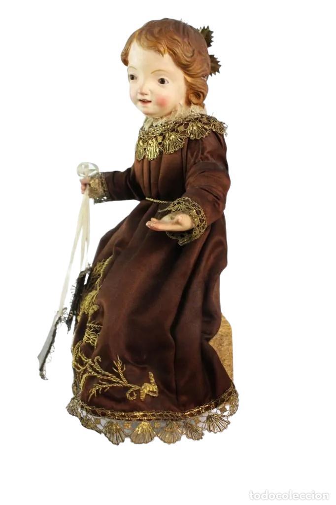 Arte: Gran Virgen del Carmen con niño. Cap pota en madera, ojos cristal, sedas, bordados. ca 1880. 97cm. - Foto 14 - 247953185