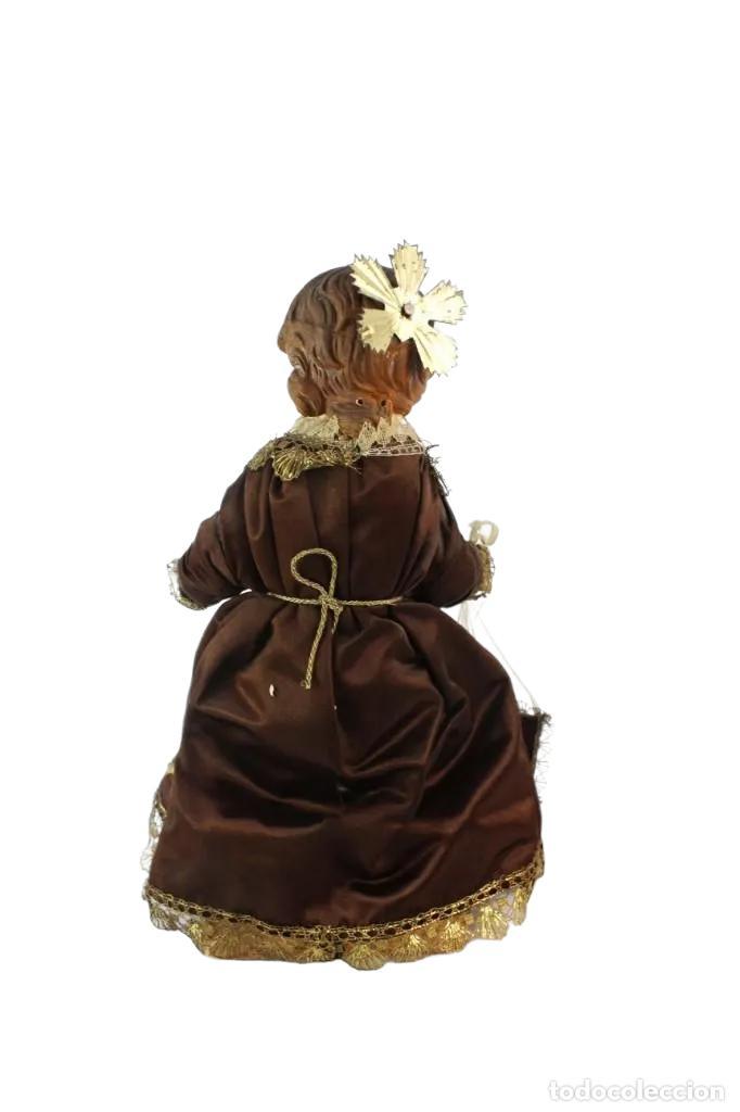 Arte: Gran Virgen del Carmen con niño. Cap pota en madera, ojos cristal, sedas, bordados. ca 1880. 97cm. - Foto 15 - 247953185