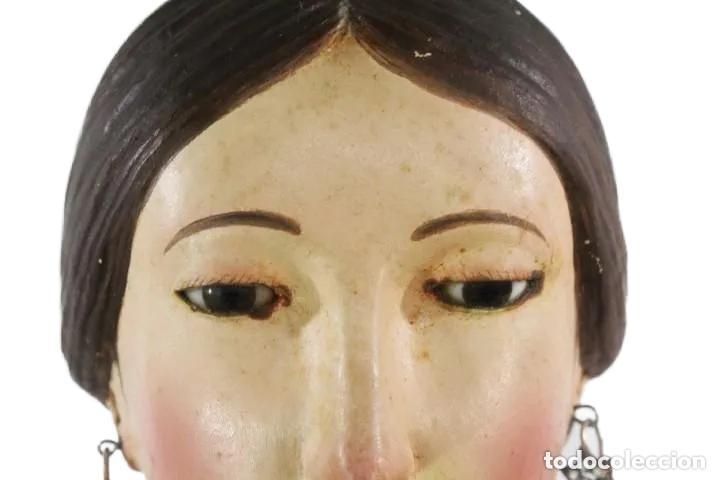 Arte: Gran Virgen del Carmen con niño. Cap pota en madera, ojos cristal, sedas, bordados. ca 1880. 97cm. - Foto 20 - 247953185