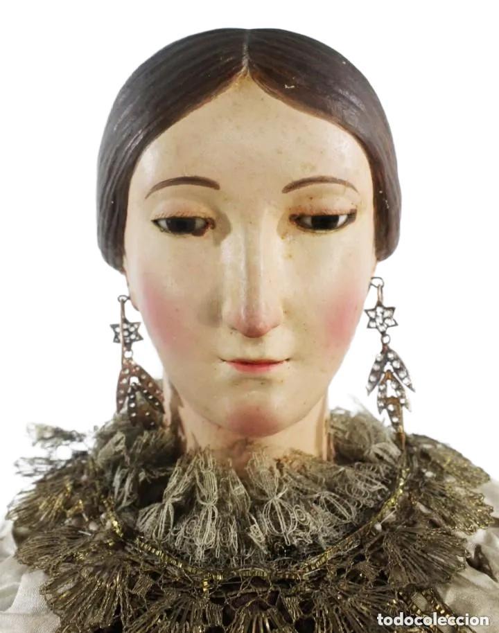 Arte: Gran Virgen del Carmen con niño. Cap pota en madera, ojos cristal, sedas, bordados. ca 1880. 97cm. - Foto 22 - 247953185