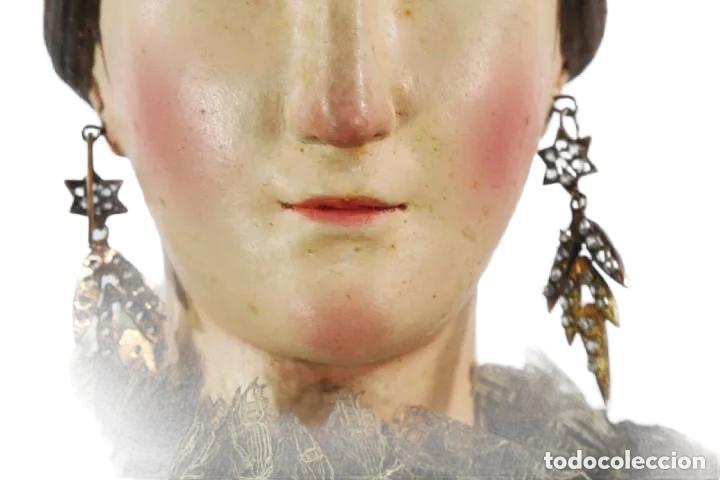 Arte: Gran Virgen del Carmen con niño. Cap pota en madera, ojos cristal, sedas, bordados. ca 1880. 97cm. - Foto 23 - 247953185