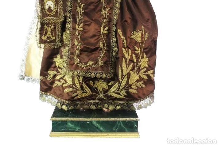 Arte: Gran Virgen del Carmen con niño. Cap pota en madera, ojos cristal, sedas, bordados. ca 1880. 97cm. - Foto 33 - 247953185