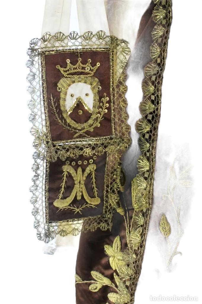Arte: Gran Virgen del Carmen con niño. Cap pota en madera, ojos cristal, sedas, bordados. ca 1880. 97cm. - Foto 39 - 247953185