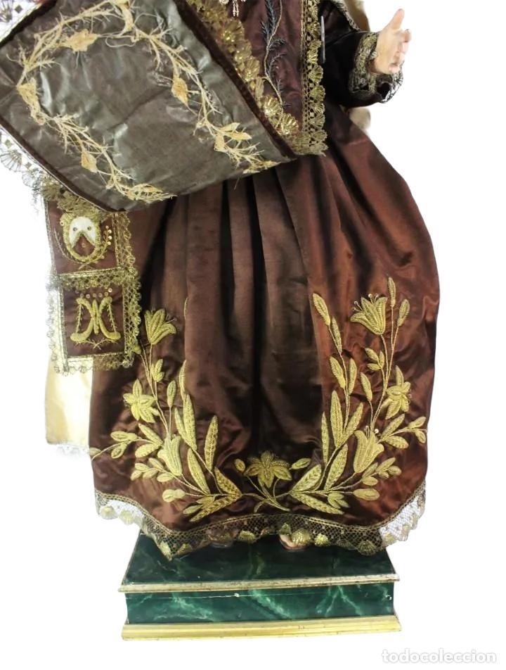 Arte: Gran Virgen del Carmen con niño. Cap pota en madera, ojos cristal, sedas, bordados. ca 1880. 97cm. - Foto 42 - 247953185