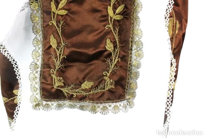 Arte: Gran Virgen del Carmen con niño. Cap pota en madera, ojos cristal, sedas, bordados. ca 1880. 97cm. - Foto 43 - 247953185