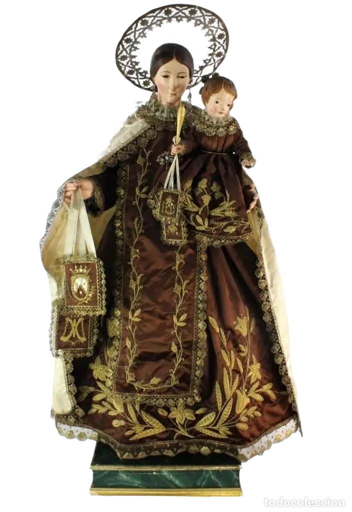 Arte: Gran Virgen del Carmen con niño. Cap pota en madera, ojos cristal, sedas, bordados. ca 1880. 97cm. - Foto 46 - 247953185