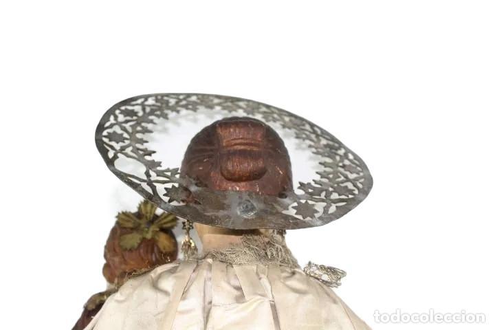 Arte: Gran Virgen del Carmen con niño. Cap pota en madera, ojos cristal, sedas, bordados. ca 1880. 97cm. - Foto 47 - 247953185