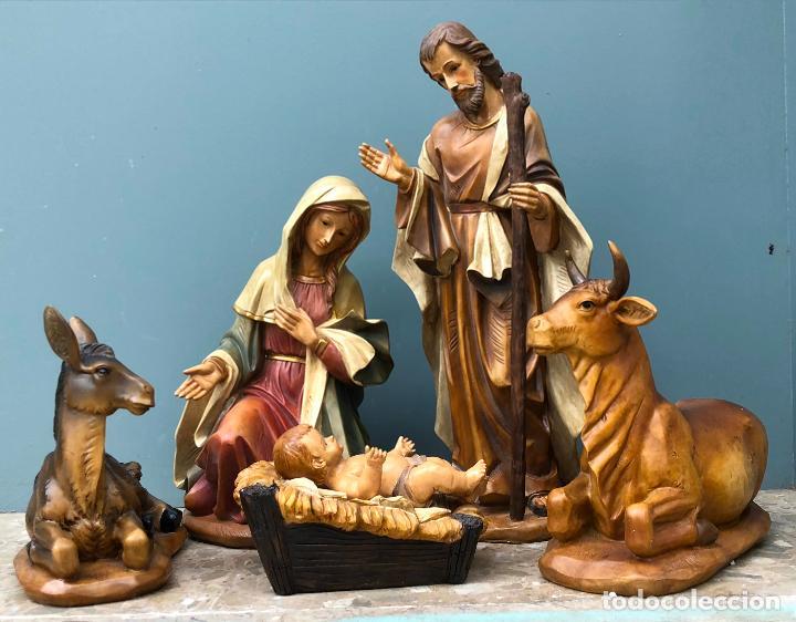 PESEBRE DE ESCAYOLA, FIGURAS BELÉN SIGLO XX. VER FOTOS. (Arte - Arte Religioso - Escultura)