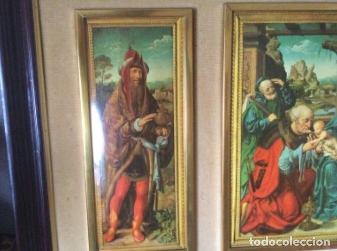 Arte: Tríptico La Adoración de los Reyes Magos de Joos Van Cleve. Serigrafía Sobre Plancha de Metal - Foto 2 - 256137715