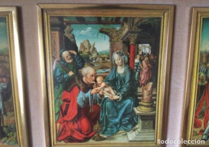 Arte: Tríptico La Adoración de los Reyes Magos de Joos Van Cleve. Serigrafía Sobre Plancha de Metal - Foto 3 - 256137715
