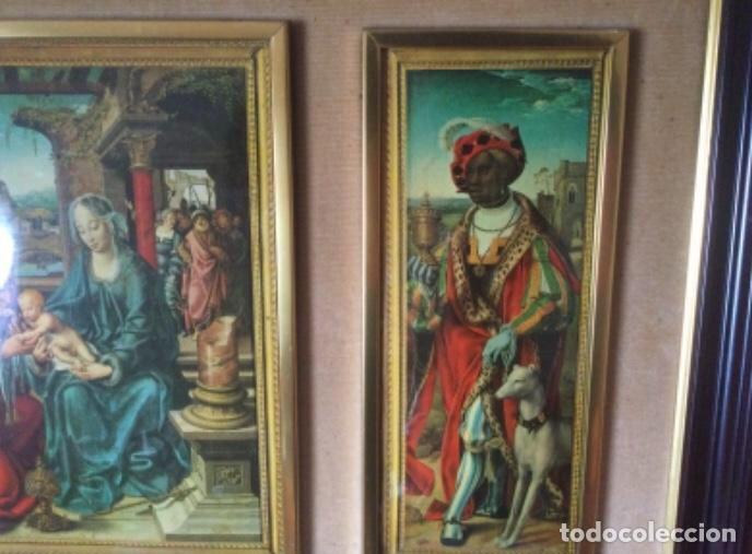 Arte: Tríptico La Adoración de los Reyes Magos de Joos Van Cleve. Serigrafía Sobre Plancha de Metal - Foto 4 - 256137715
