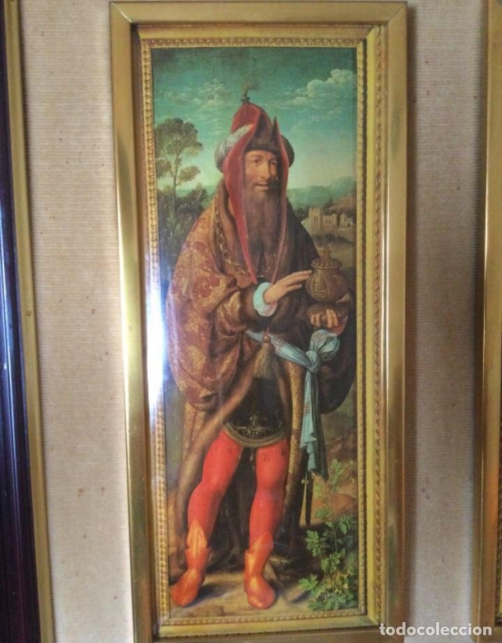 Arte: Tríptico La Adoración de los Reyes Magos de Joos Van Cleve. Serigrafía Sobre Plancha de Metal - Foto 6 - 256137715