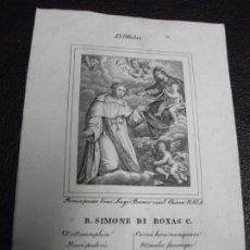 Arte: SIGLO XIX - GRABADO DE SIMÓN DE ROJAS VALLADOLID - RELIGIÓN. Lote 257309280