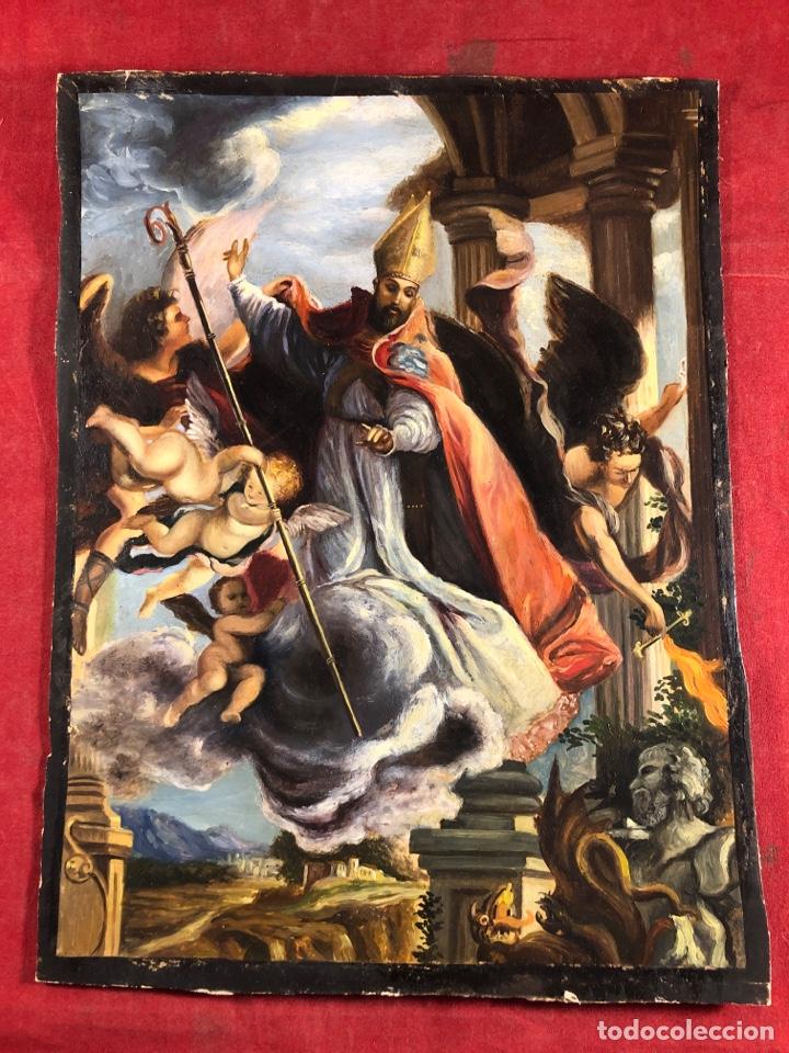 MAGNIFICO ÓLEO SOBRE CARTÓN (Arte - Arte Religioso - Pintura Religiosa - Oleo)