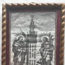 Art: GRABADO RELICARIO Sª JUSTA Y Sª RUFINA VIVA Y MÁRTIR. PATRONAS DE LA CIUDAD DE SEVILLA. SIGLO XVIII. Lote 257435580