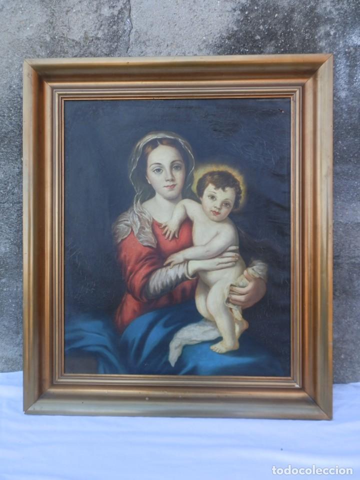 ÓLEO SOBRE LIENZO. VIRGEN CON NIÑO JESÚS. SIN FIRMA. (Arte - Arte Religioso - Pintura Religiosa - Oleo)