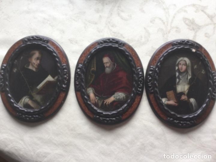 TRES ANTIGUOS ÓLEOS SOBRE PLANCHA DE COBRE. GRAN CALIDAD. PIO V, SANTA TERESA Y SAN JUAN DE LA CRUZ (Arte - Arte Religioso - Pintura Religiosa - Oleo)