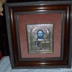 Arte: ICONO DE PLATA ENMARCADO.EL ICONO MIDE 18 X 15,5.CON VARIOS CUÑÓS ESTRELLA.925. Lote 257890055