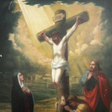 Arte: FRANCISCO GARCÍA IBÁÑEZ.1885. CRISTO CRUCIFICADO. ÓLEO/LIENZO. MED: 58 X 49 CM.. Lote 257898230