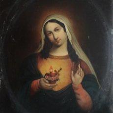 Arte: SAGRADO CORAZÓN DE MARÍA. ÓLEO SOBRE PLACA DE METAL. MIDE 27 X 22 CM. SIGLO XIX.. Lote 257900185