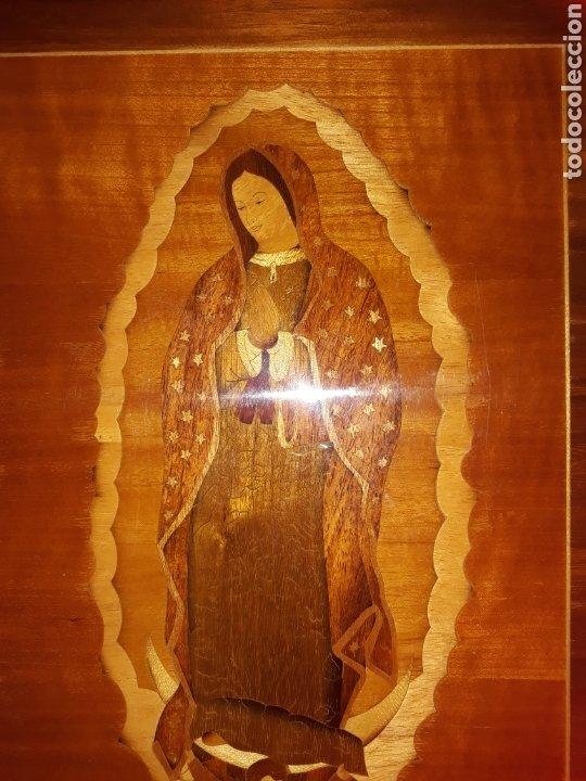 Arte: Cuadro antiguo en marquetería de la Virgen de Guadalupe. Gran detalle - Foto 6 - 258004360