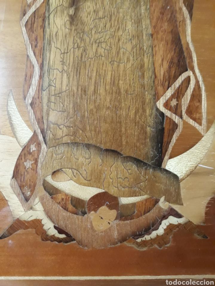 Arte: Cuadro antiguo en marquetería de la Virgen de Guadalupe. Gran detalle - Foto 12 - 258004360
