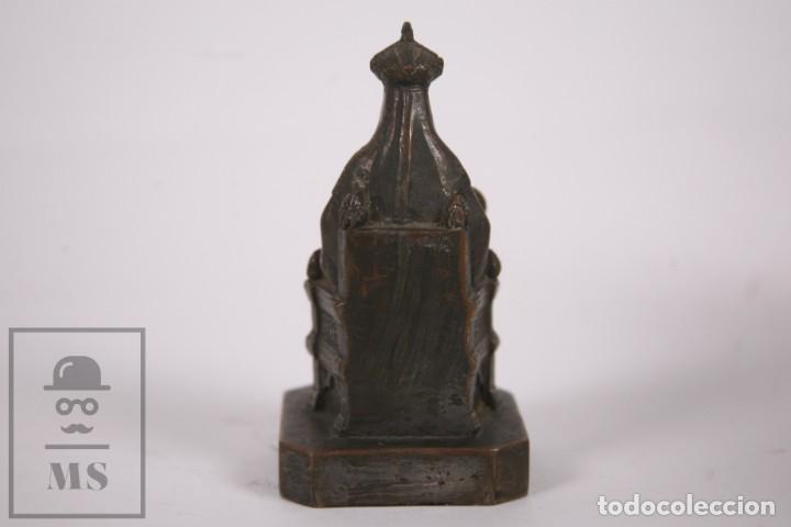 Arte: Antigua Escultura Religiosa de Metal - Virgen de Montserrat / Moreneta - Finales Siglo XIX - 12cm - Foto 4 - 258849030