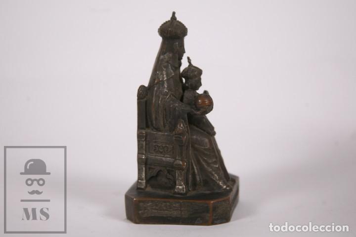 Arte: Antigua Escultura Religiosa de Metal - Virgen de Montserrat / Moreneta - Finales Siglo XIX - 12cm - Foto 5 - 258849030