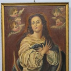 Arte: INMACULADA. COPIA MURILLO. FIRMADO Y FECHADO 1924. Lote 259009695