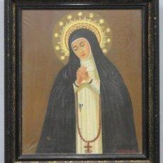 Arte: BONITA VIRGEN DE LA PALOMA. OLEO S/ LIENZO. FIRMADO. HACIA 1900. CON CRISTAL PROTECTOR. Lote 259009975
