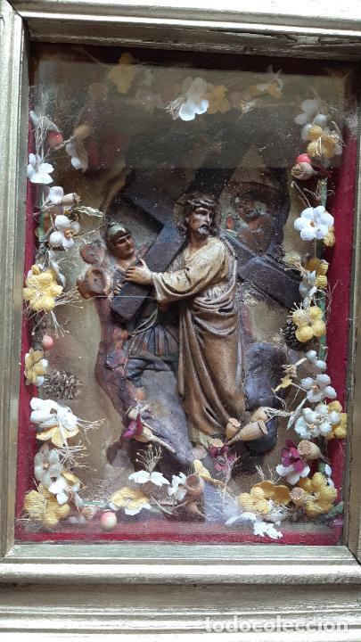 Arte: ANTIGUO ALTAR RETABLO EN RELIEVE , FILIGRANA Y FLORES, SIGLO 19 -RELICARIO DE LA PASION DE CRISTO - Foto 3 - 259012230