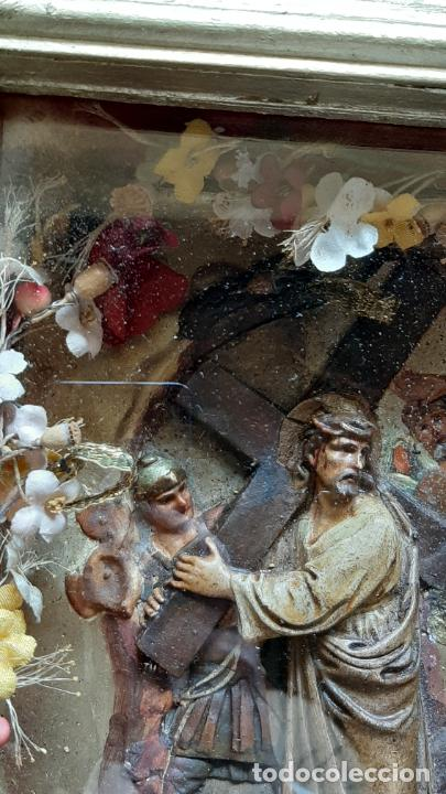 Arte: ANTIGUO ALTAR RETABLO EN RELIEVE , FILIGRANA Y FLORES, SIGLO 19 -RELICARIO DE LA PASION DE CRISTO - Foto 11 - 259012230