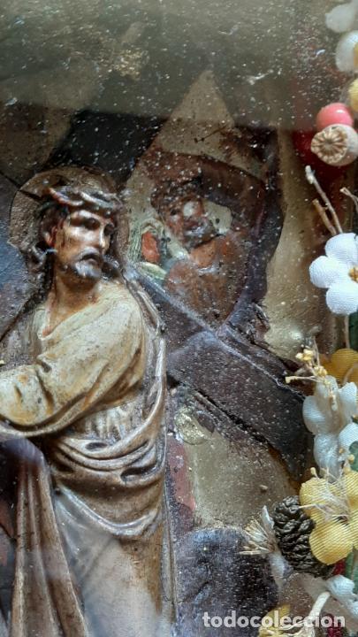 Arte: ANTIGUO ALTAR RETABLO EN RELIEVE , FILIGRANA Y FLORES, SIGLO 19 -RELICARIO DE LA PASION DE CRISTO - Foto 12 - 259012230