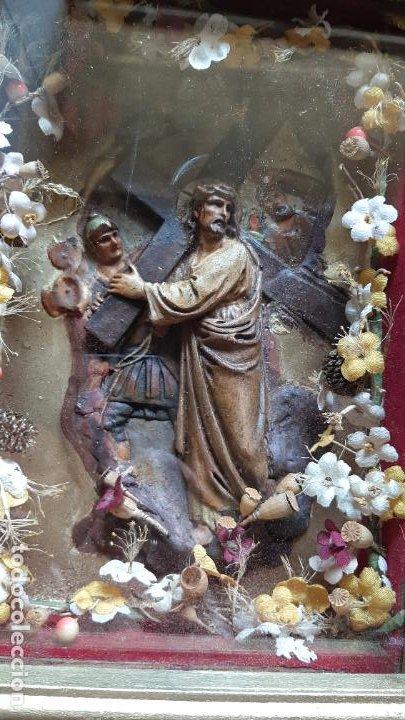 Arte: ANTIGUO ALTAR RETABLO EN RELIEVE , FILIGRANA Y FLORES, SIGLO 19 -RELICARIO DE LA PASION DE CRISTO - Foto 21 - 259012230